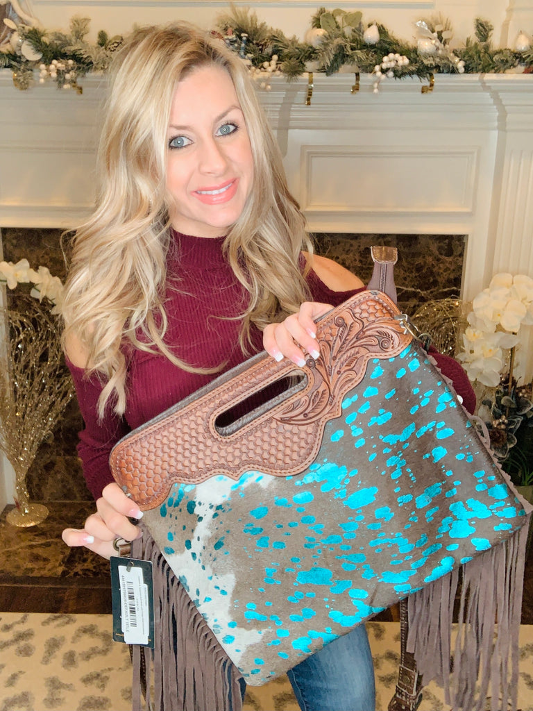 Cowhide & Turquoise Acid Wash with Fringe Clutch/Crossbody