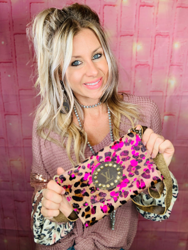 Pink Acid Wash Leopard Jordan Purse