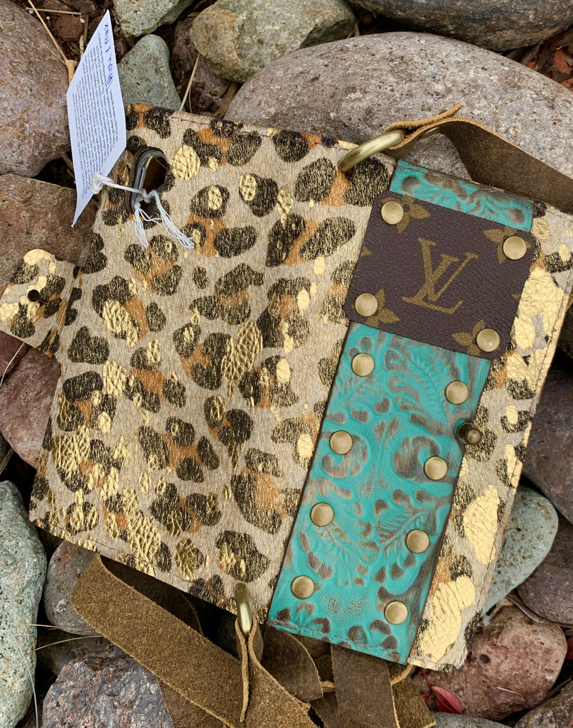 Gold Leopard print & turquoise leather IPhone Holder