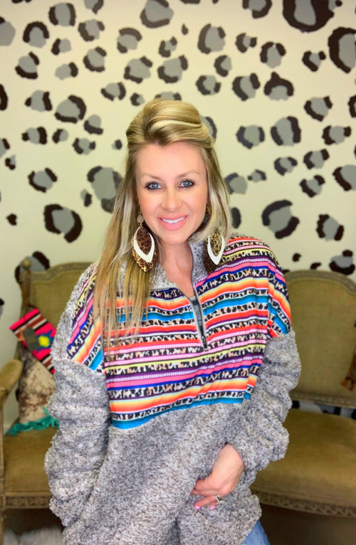 Brown Heathered Leopard serape Sherpa Pullover