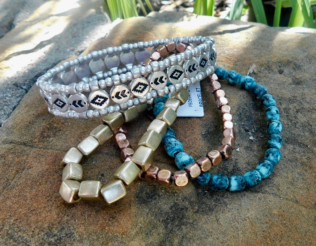 Metallic tribal stretch bracelet set