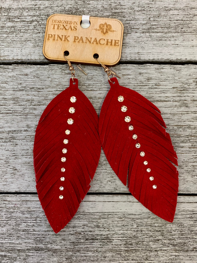 Red clear crystal feather earrings by Pink Panache