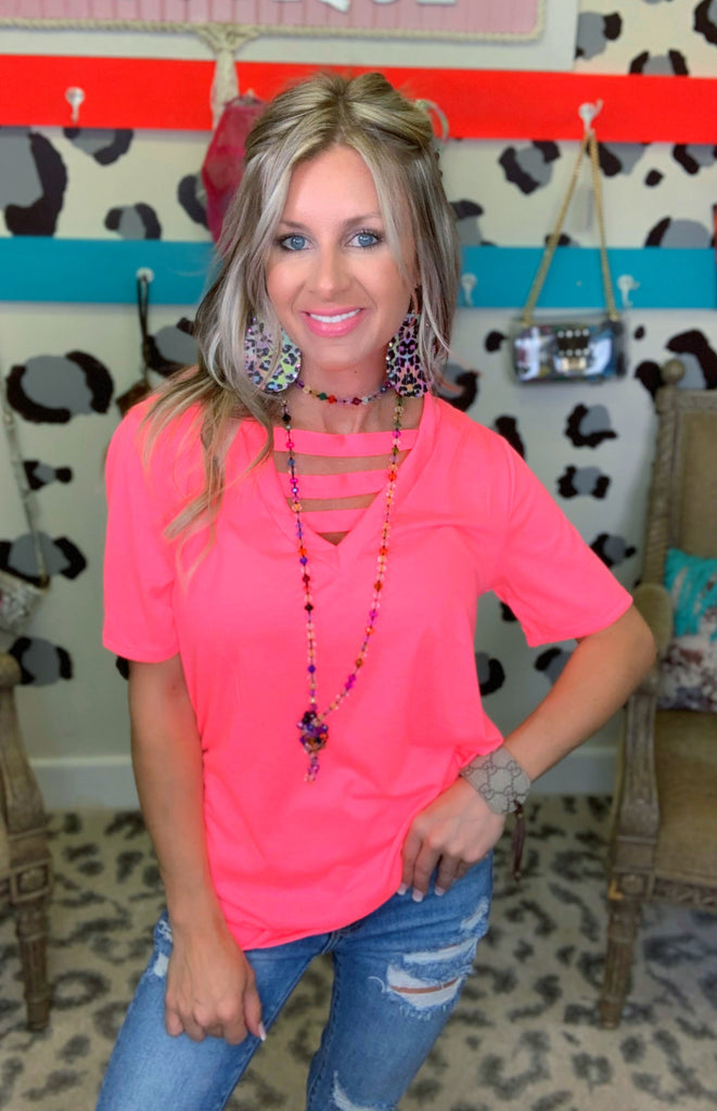 Neon Pink Jersey Knit V-neck Criss Cross Tee