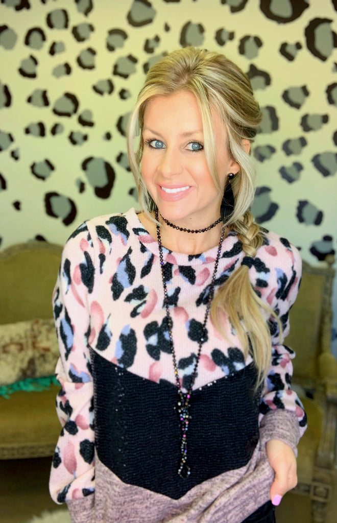 Sweet Heart Leopard sequin Pink sweater