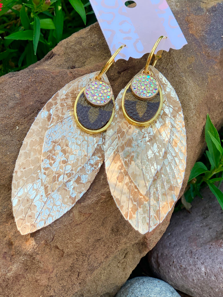 Beige Metallic Snake Feather Earrings with AB up cycled Embellishment