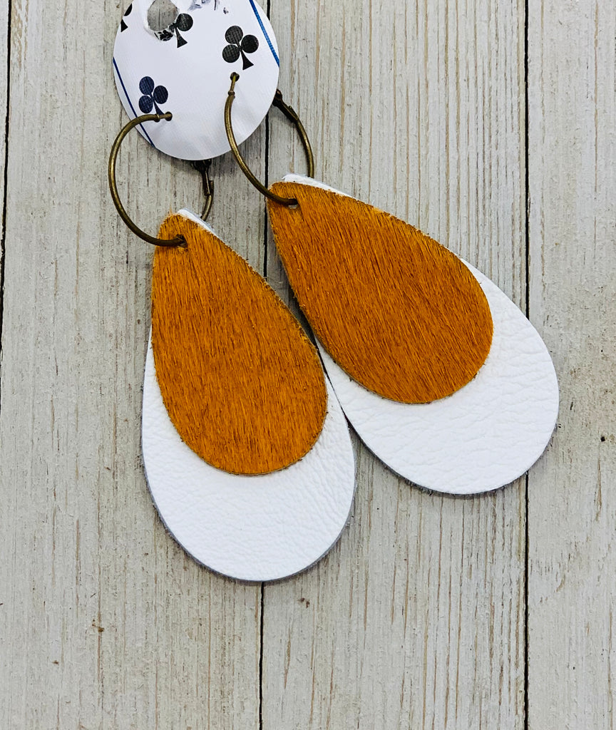 Burnt Orange & White Game Day Double Teardrop Earrings