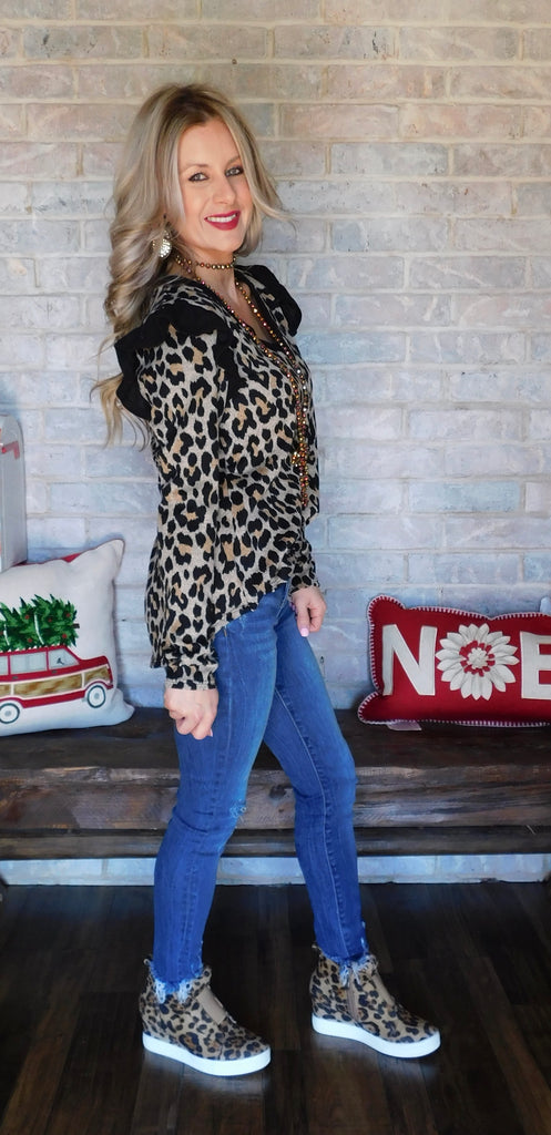 Leopard & Ruffles for days blouse