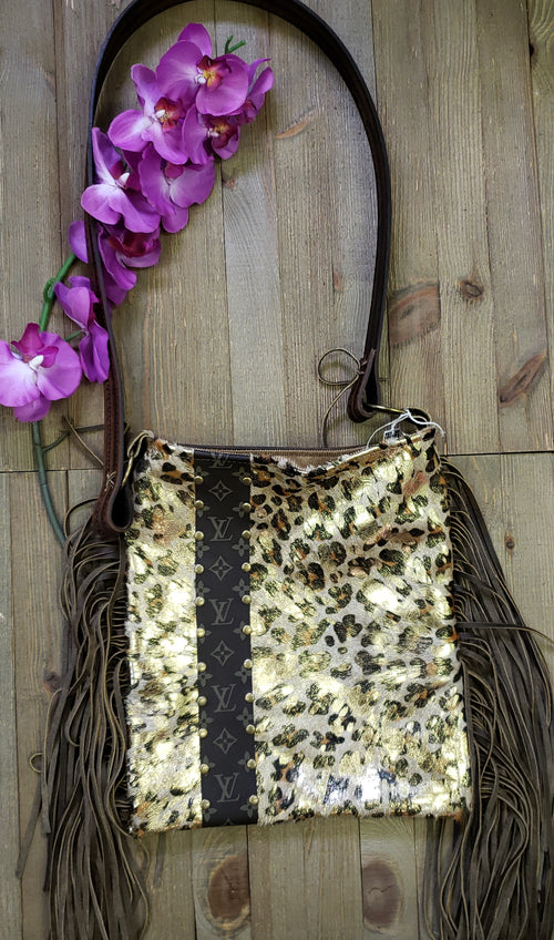 Gold leopard hair on hide Hazel bag