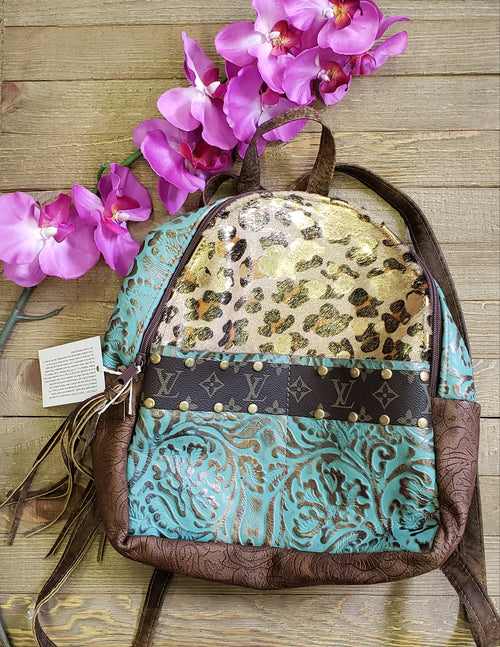Gold leopard & turquoise leather mini backpack
