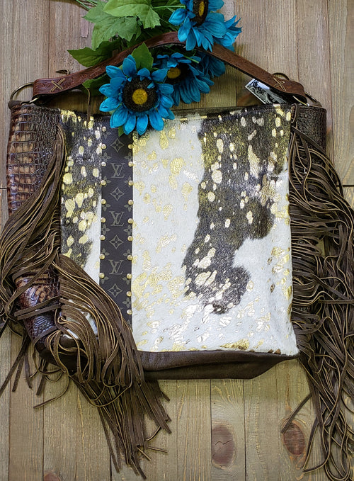 Black ivory & gold hair on hide Rosie Tote