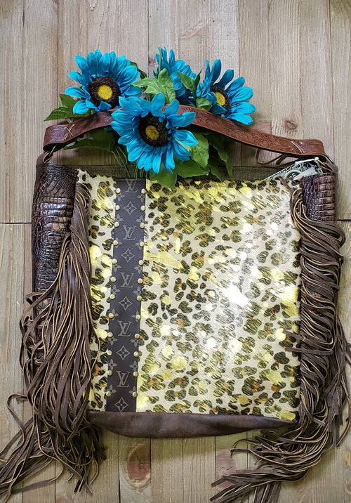 Gold leopard hair on hide Rosie tote