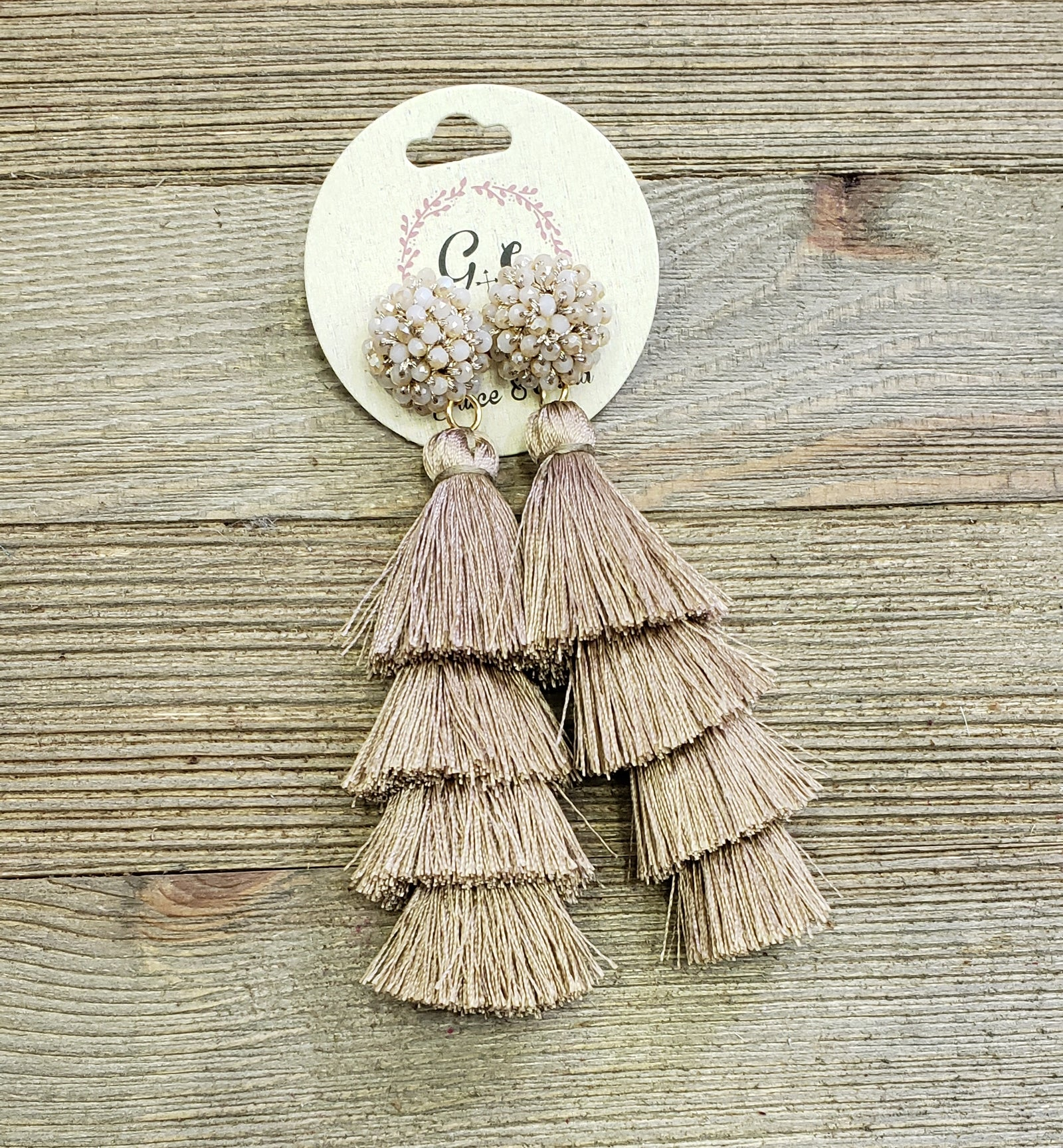 Mocha Multi Bead Tassel Earrings