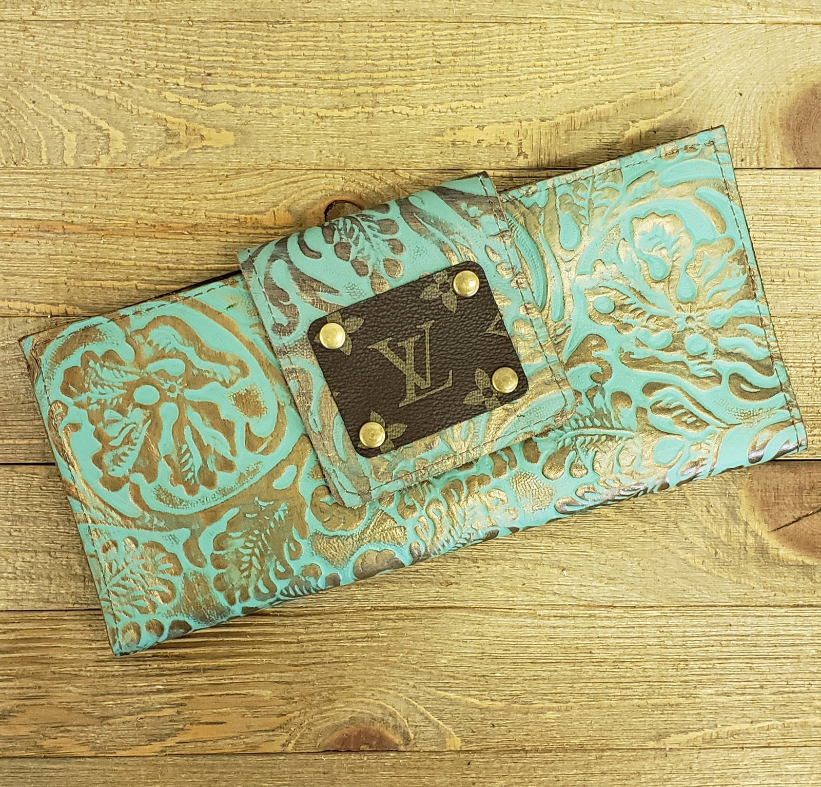 Turquoise Tooled Leather LV Wallet