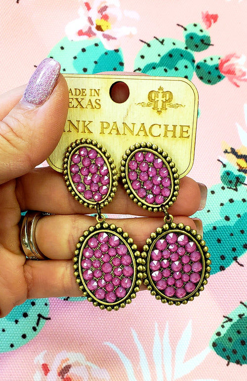 Candy Pink Double Mini Oval Earrings