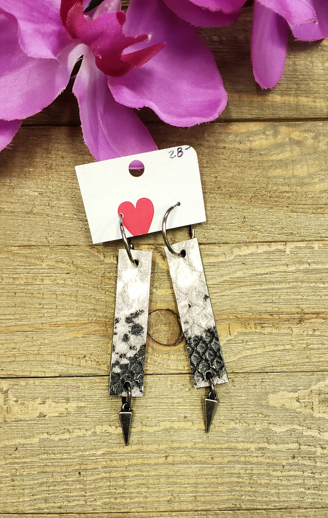 Python print leather rectangle earrings