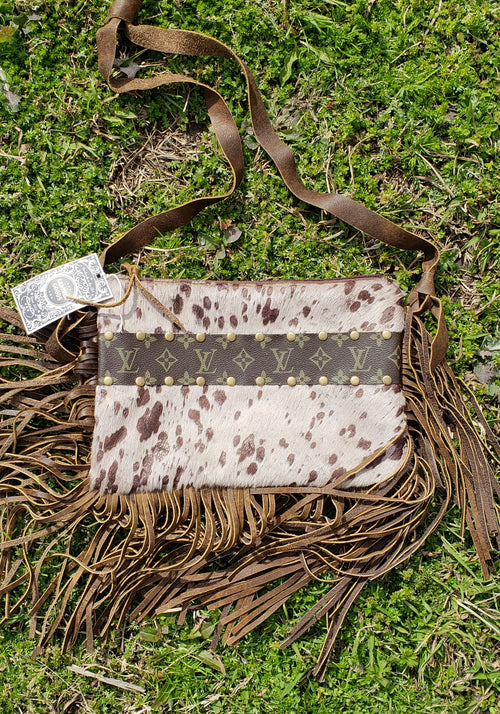 Brown taupe hair on hide acid wash maxine purse