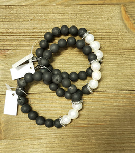 Black Matte & Pearl Beaded Bracelets