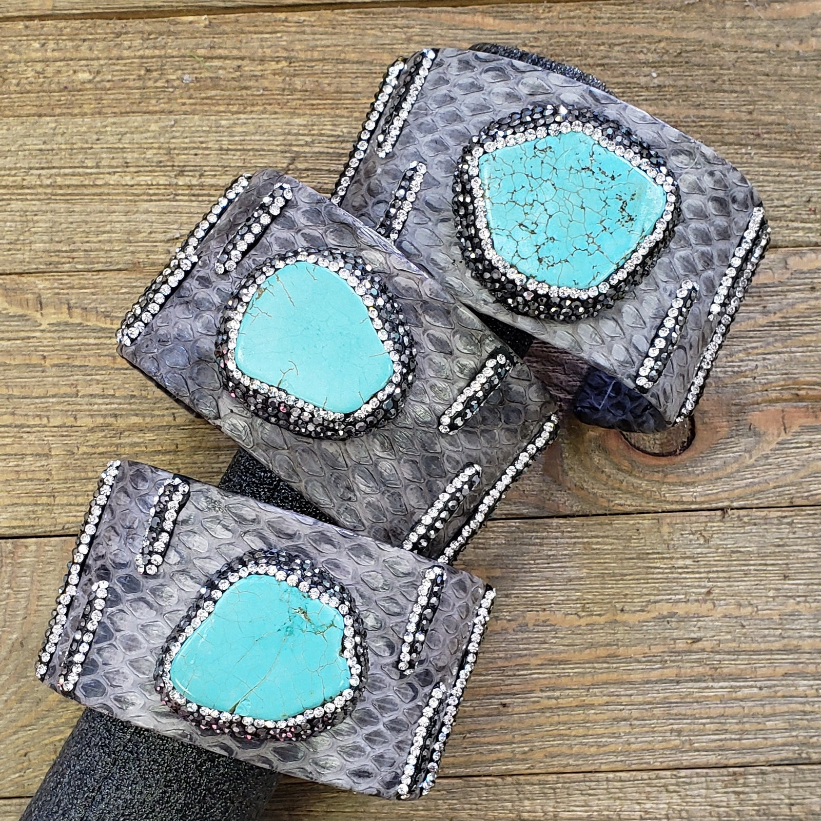 Grey & Turquoise Stone Pave Chunky Cuff