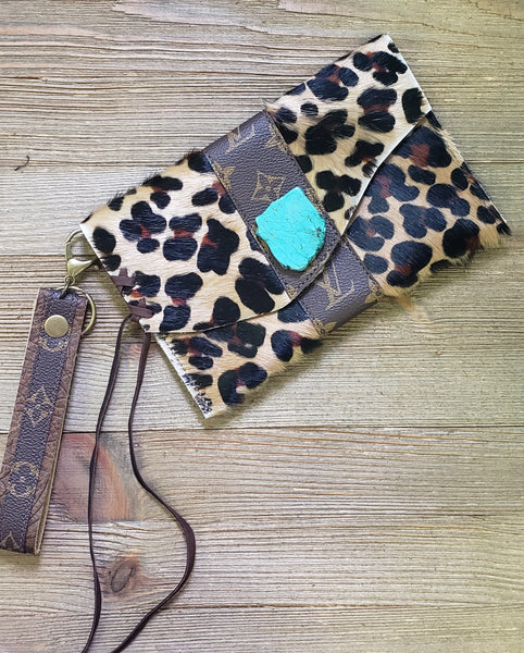 Leopard Hair on Hide LV Turquoise Wristlet