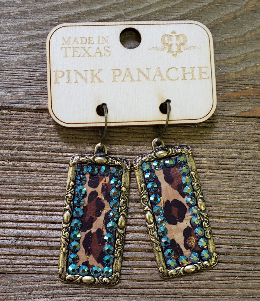 Pink Panache Gold & Turquoise Stone Leopard Earrings