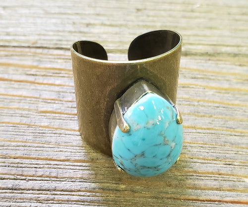 Pink Panache Gold & Turquoise Ring