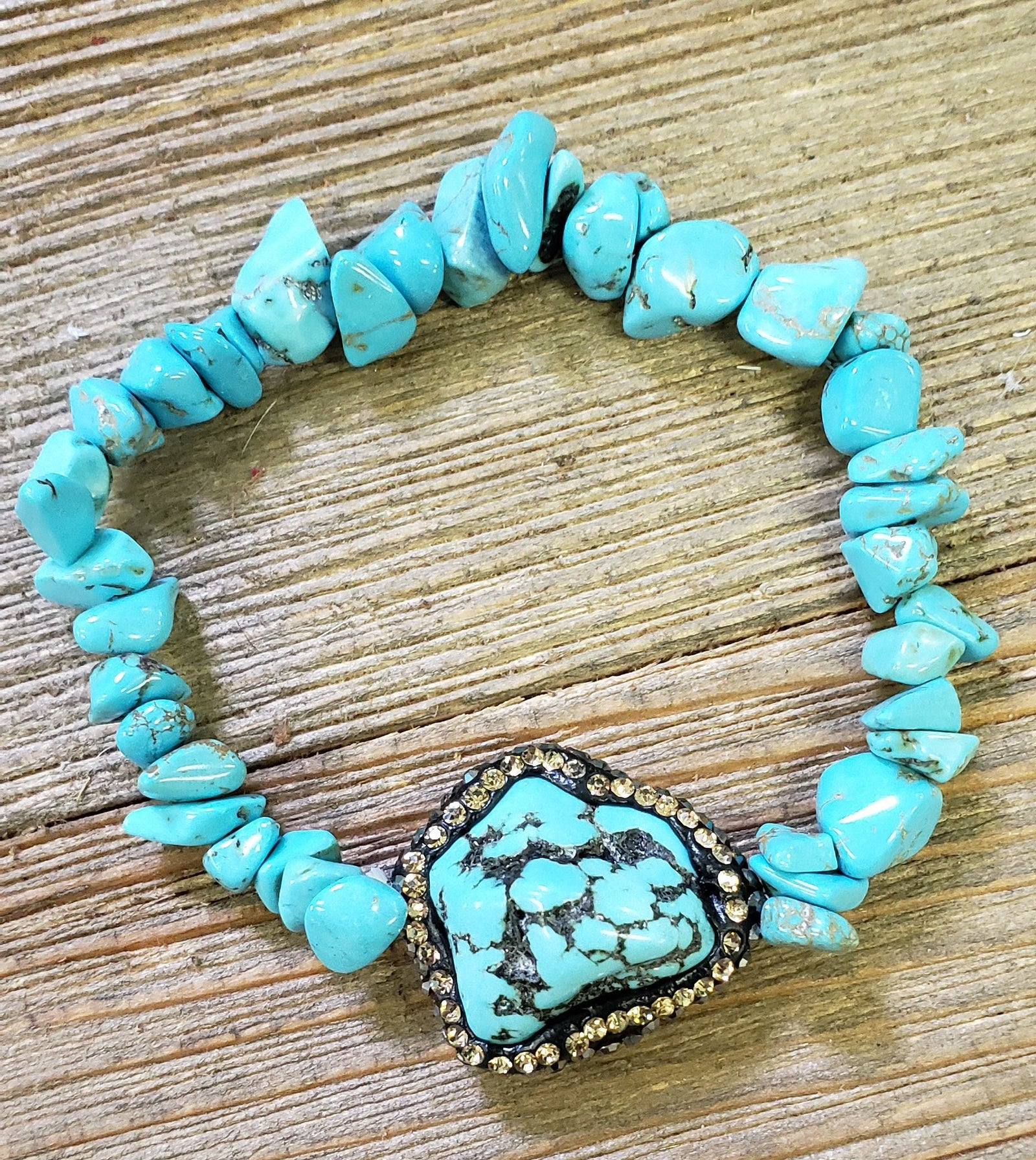 Turquoise Beaded Pave Stretch Bracelet
