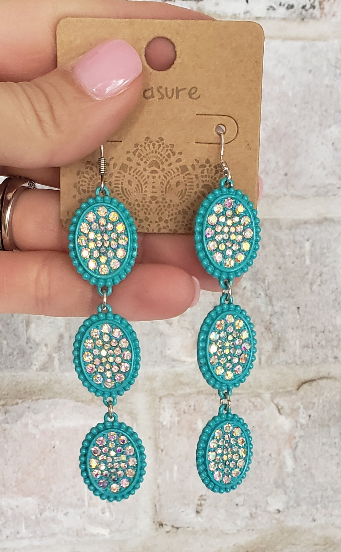 Turquoise triple oval AB earrings