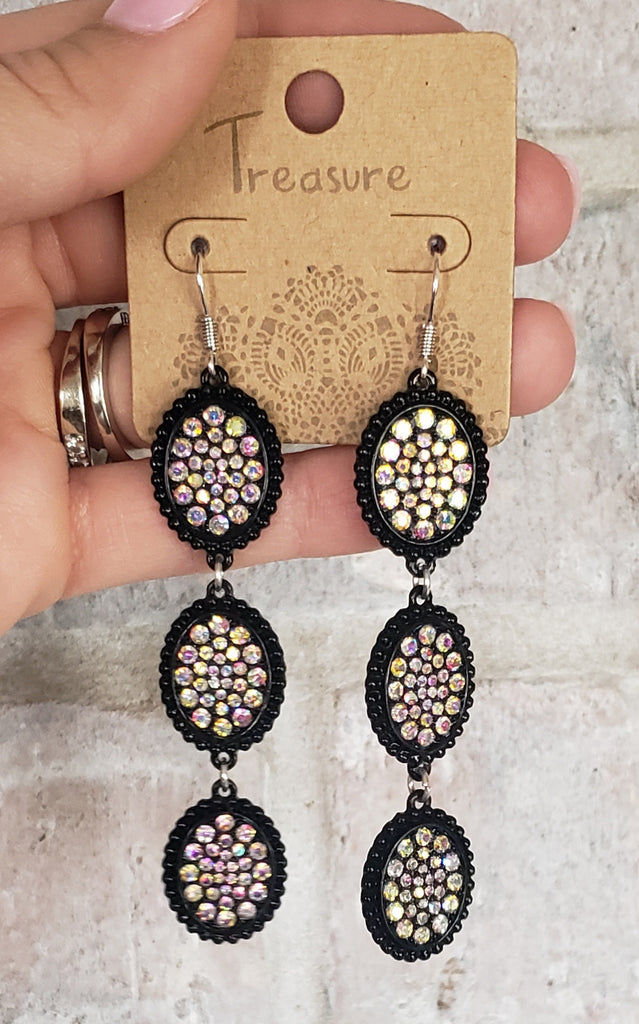 Triple oval black AB earrings