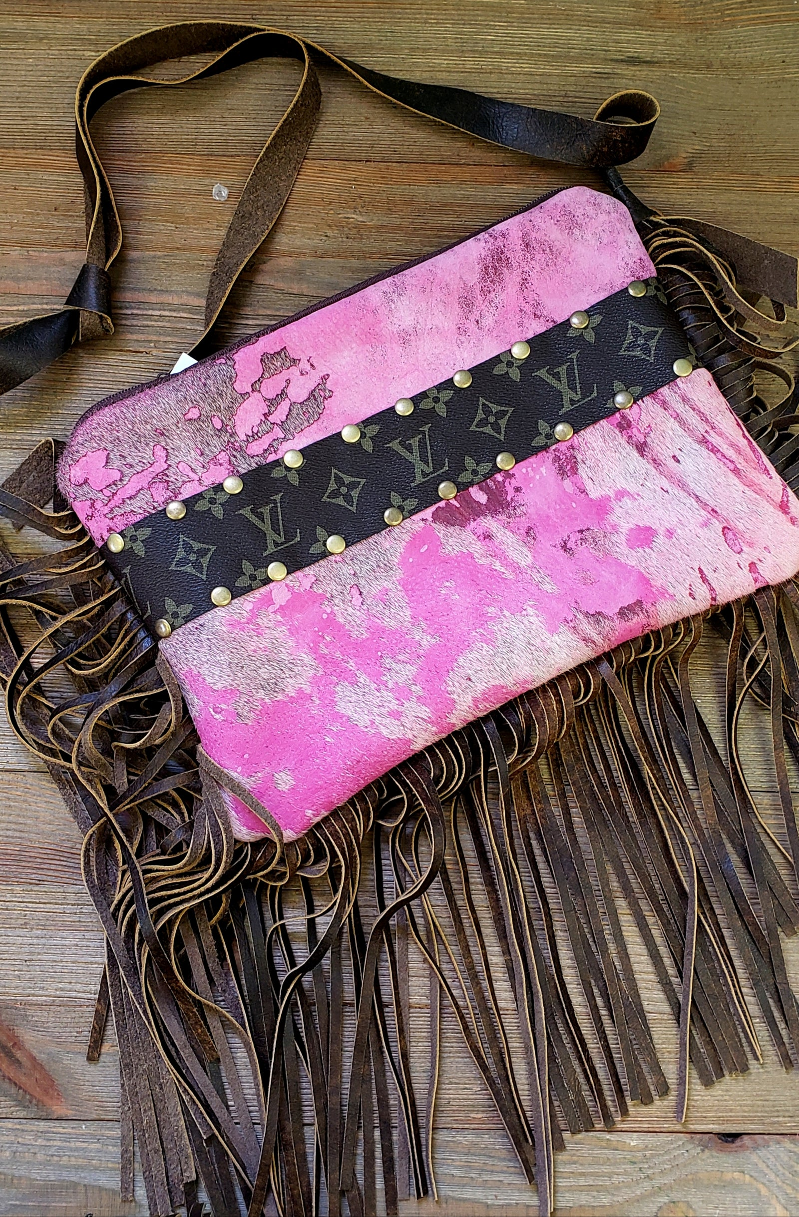 Pink acid wash hair on hide Maxine purse
