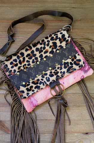 Pink acid wash hair on hide checkbook wallet