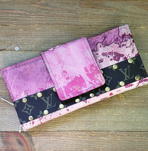 Pink acid wash studded wallet/ clutch