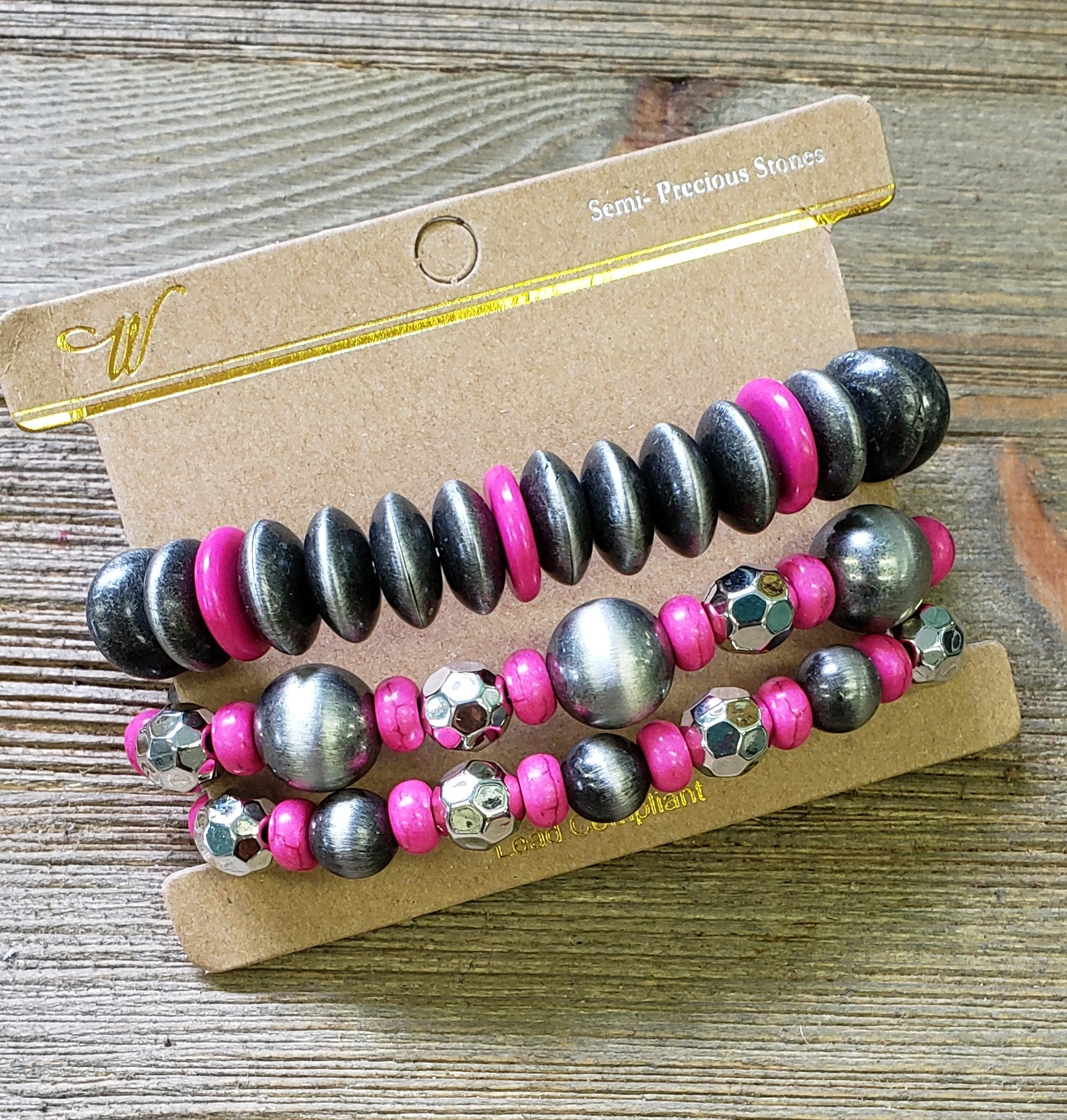 Silver & fuschia beaded bracelet set