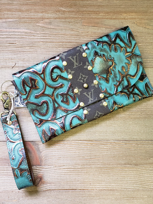 Turquoise bronze aztec tooled leather wristlet