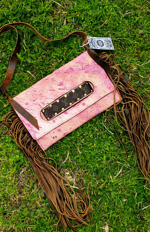 Dusty pink acid wash Sloan clutch/ cross body
