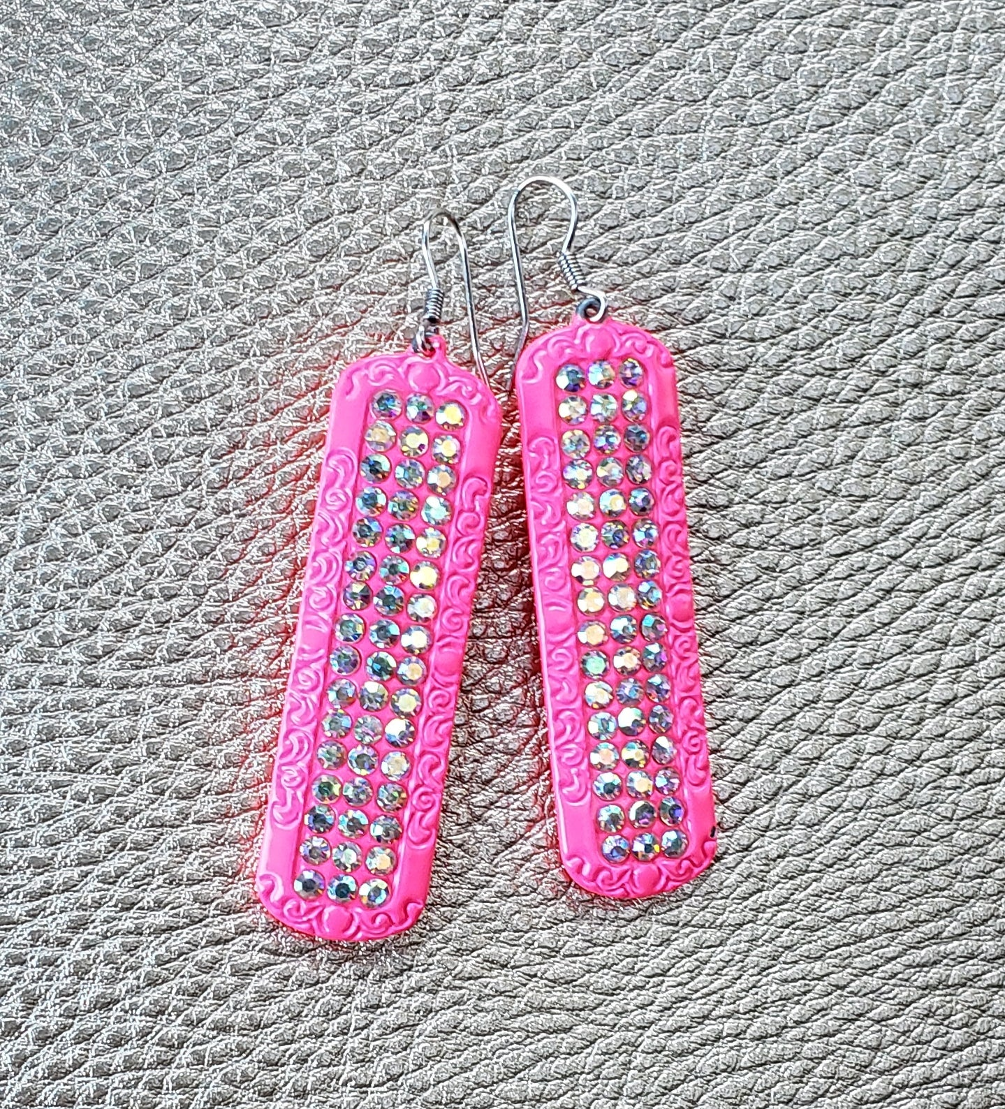 Hot Pink Rectangle Earrings