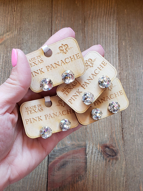 Clear crystal studs by Pink Panache