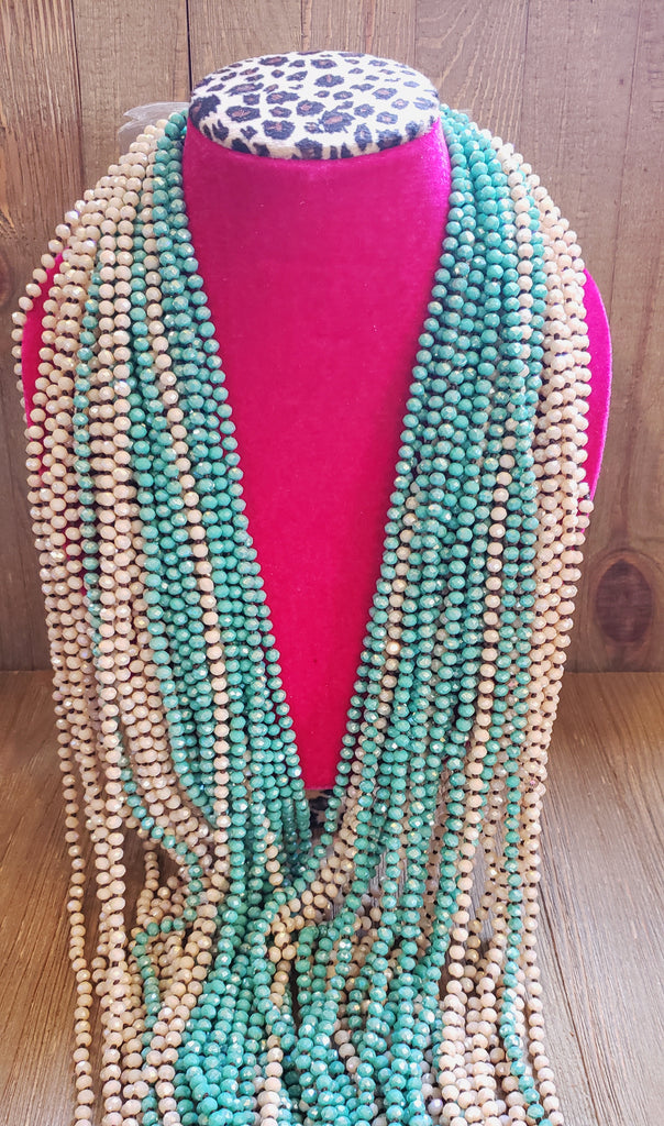 Skinny Turquoise Bead Necklace