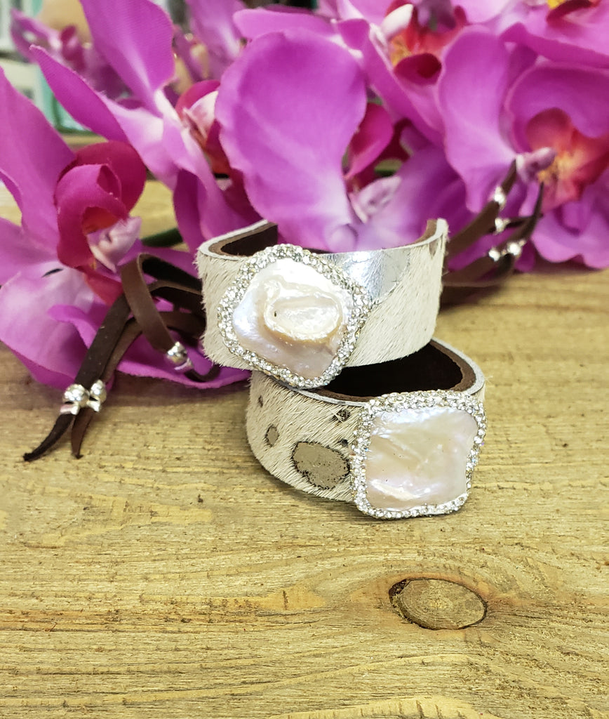 Ivory Acid Wash Pearl Pave Cuff