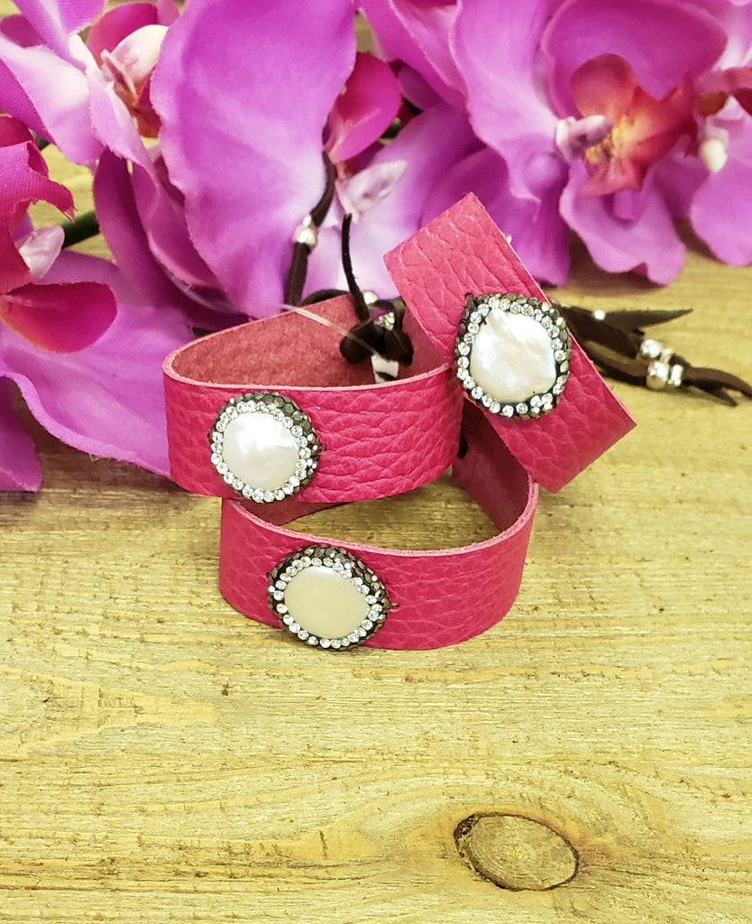 Pink Leather Cuff w/ Pearl Pave