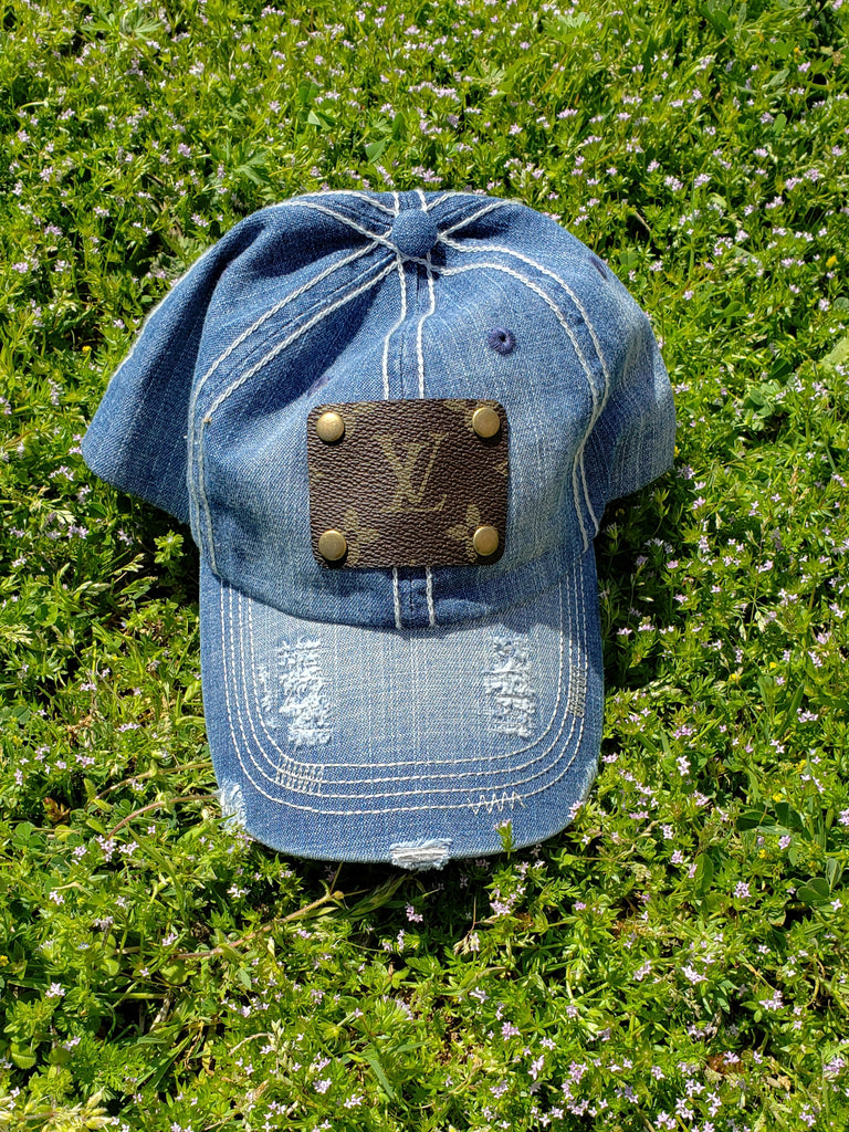 Distressed Light Denim Hat With Upcycled Embellishment