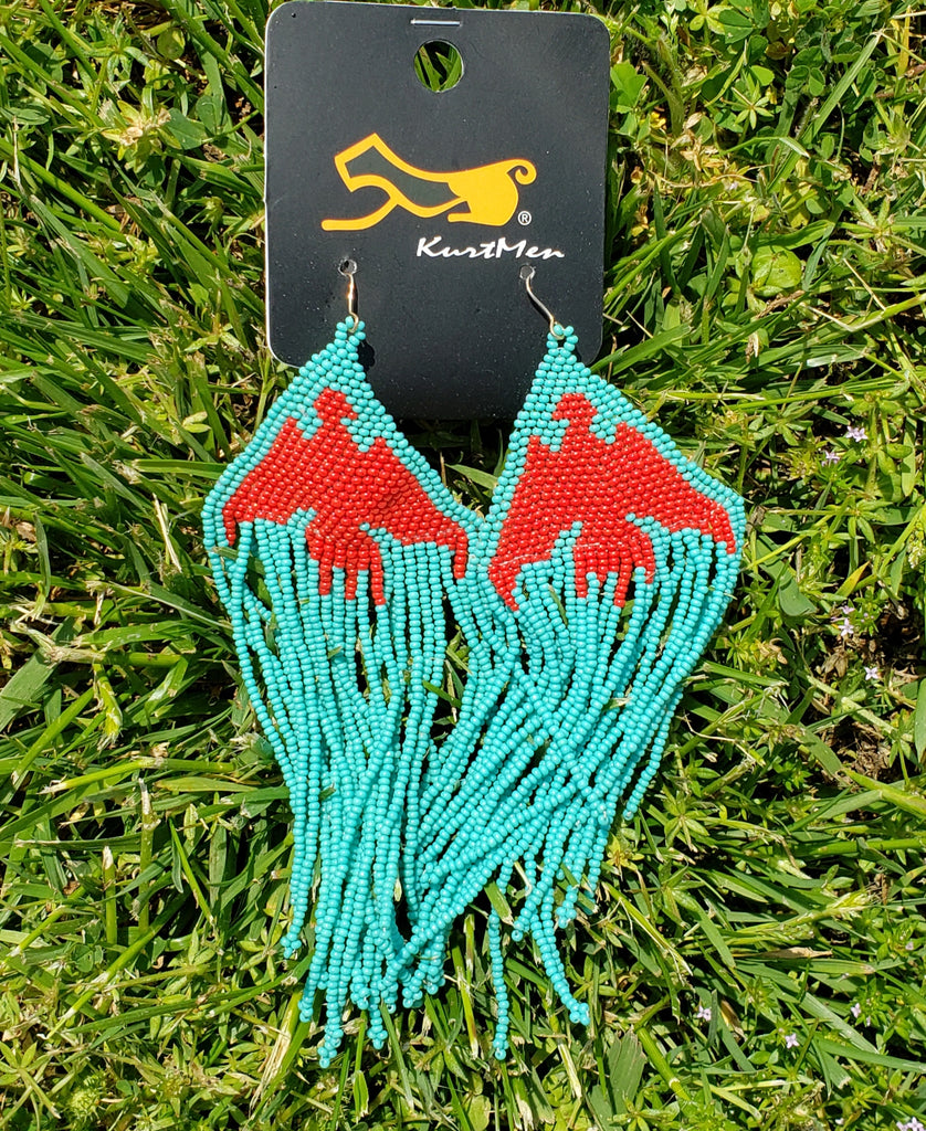 Kurtman Red & Turqupise Bead Fringe Earrings