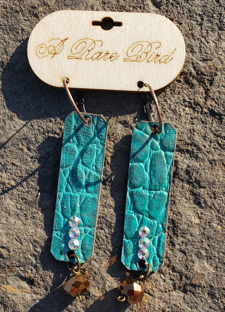 Turquoise leather rectangle earrings by A rare bird
