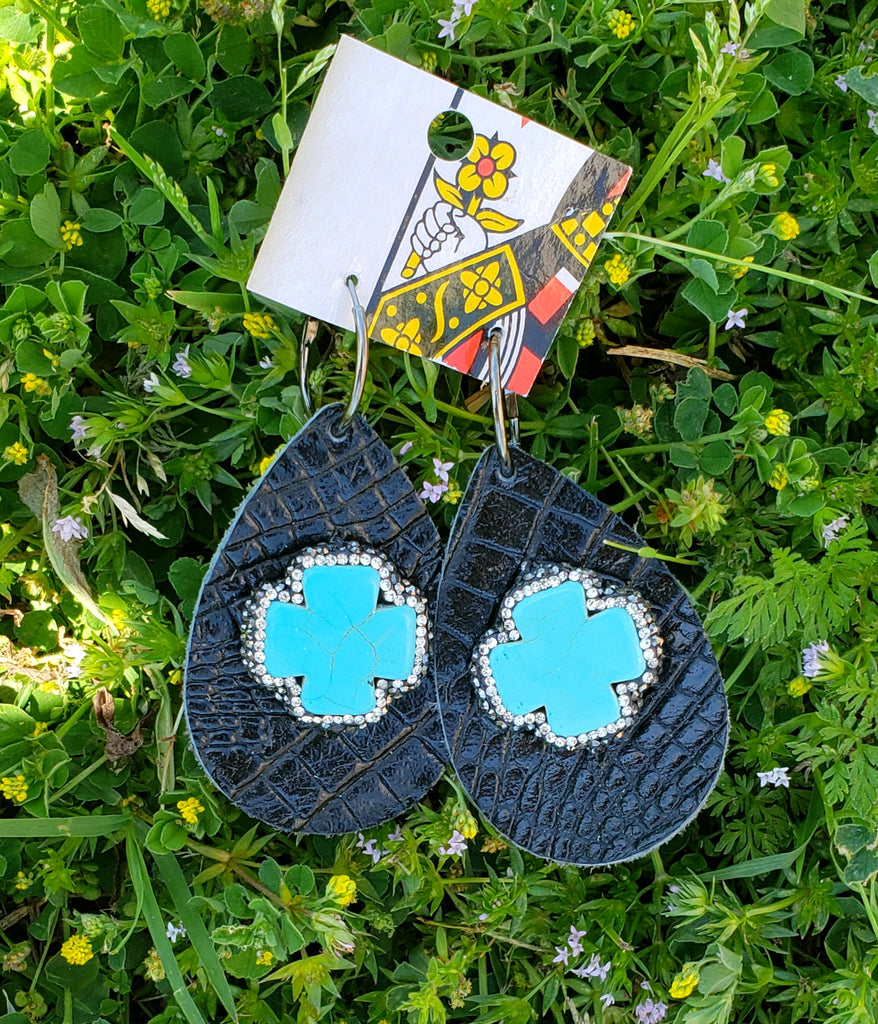 Black Croc Leather Pave Earrings