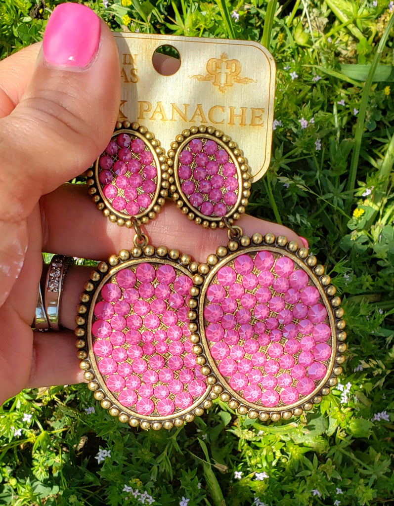 Candy Pink Large Double Oval Earrings