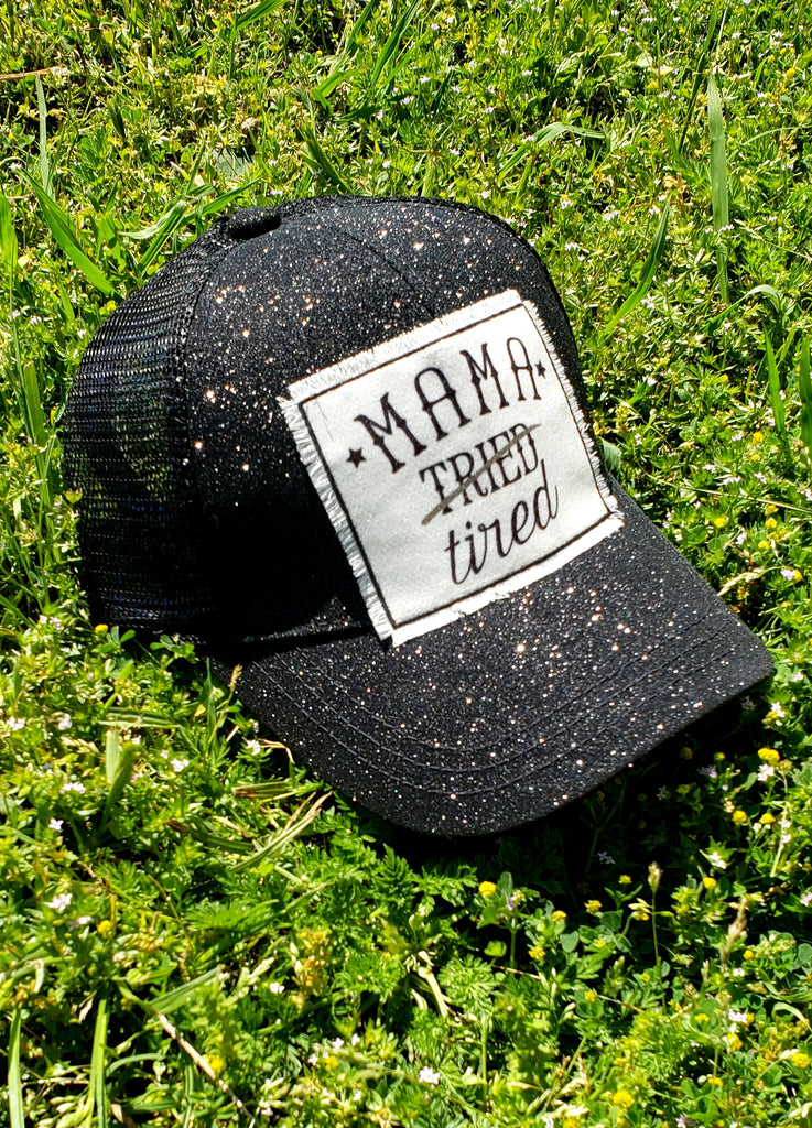 Mama Tried Black Glitter Hat