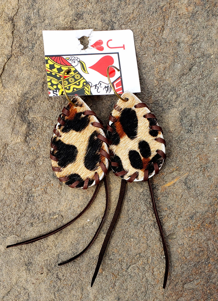 Leopard hair on hide leather braided fringe earrings