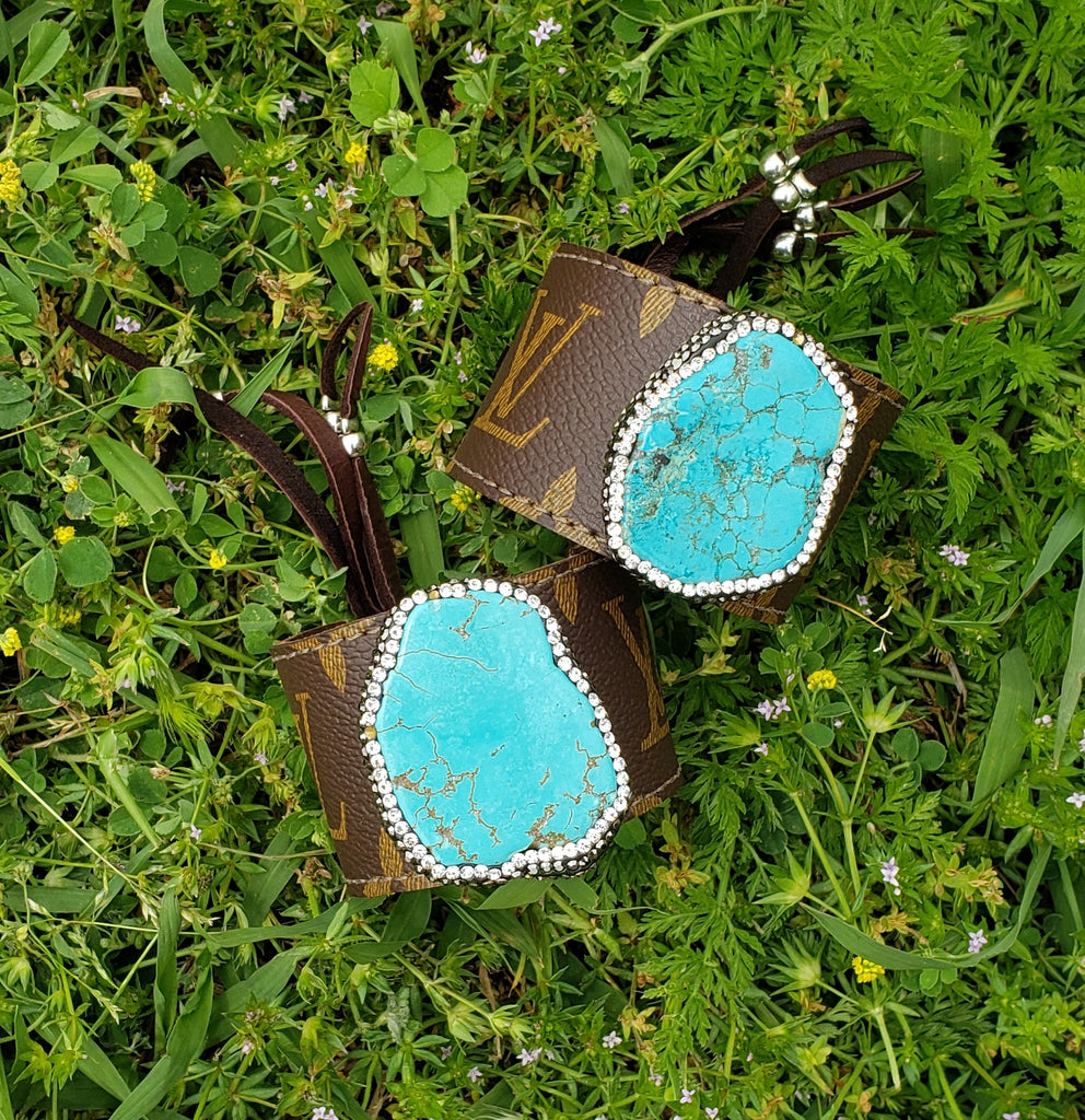 Brown Large Turquoise Pave Cuff