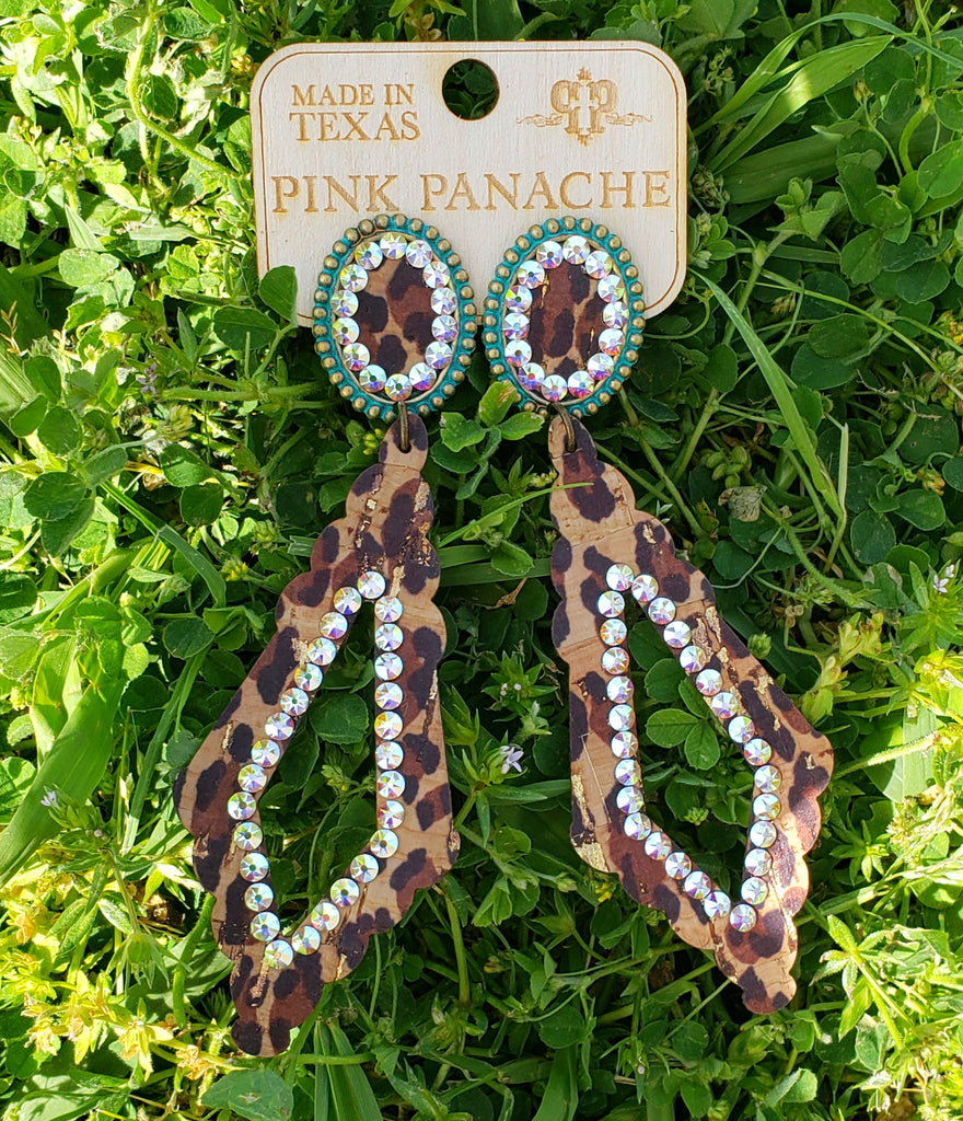 Turquoise Leopard AB Diamond Earrings by Pink Panache