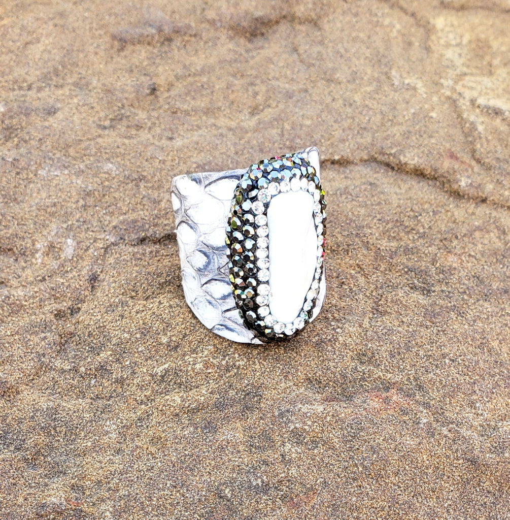 Grey Pearl Pave Python Ring