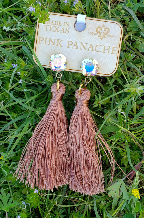 Mauve tassel and AB studs by Pink Panache